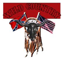 wild country - fahne mit büffel