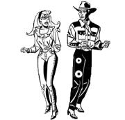 cowgirl und cowboy in schwarz, weiß